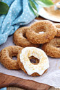 Apple baked donuts with glaze cream cheese Stock Image