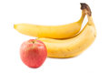 Apple and banana on white background Royalty Free Stock Image