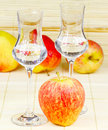 Apple brandy and fresh apples Royalty Free Stock Image