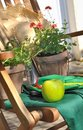Apple for a break on chair with gardening accessories Stock Photography
