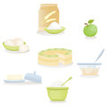 Apple cake ingredients set Stock Photo