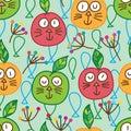 Apple cat seamless pattern