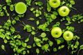 Apple, celeriac. Vegetables for greeny organic smoothy for sport diet on dark background top view mockup Royalty Free Stock Photo
