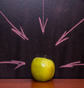Apple on the chalkboard classroom with Stock Photos