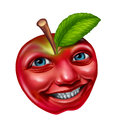 Apple character with a happy human face expression as a red fresh delicious fruit isolated on a white background as an education Stock Photos