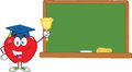 Apple character ringing a bell for back to school in front of chalkboard smiling Stock Images