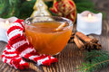 Apple cider rum punch hot drink for a fun and festive christmas holiday Stock Images