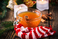 Apple cider rum punch hot drink for a fun and festive christmas holiday Stock Image
