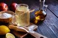 Apple cider vinegar, lemon and baking soda drink