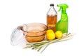 Apple cider vinegar, lemon,  lemongrass effective insect repelle Royalty Free Stock Photo