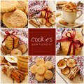 Apple cinnamon cookies collage and coffee set Stock Photography