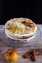 Apple cinnamon teatime cake with buttercream icing Royalty Free Stock Photo