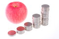 Apple and  coins Royalty Free Stock Photography
