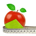 Apple collage with measuring tape Stock Image