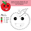 Apple connect dot coloring illustration drawing fruit cartoon graphic element Royalty Free Stock Photos