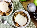 Apple crisp with ice cream Royalty Free Stock Photo
