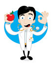 An apple a day keeps the doctor away funny holds red Stock Images