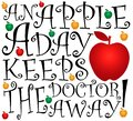 An apple a day, vector illustration Royalty Free Stock Photo