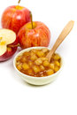 Apple filling ready to make pies on white background selective focus Royalty Free Stock Images