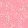 Apple flowers white pattern tree stencil hand drawn illustration over a pink background Stock Image