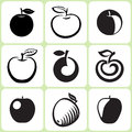 Apple fruit icons set illustration Royalty Free Stock Photo