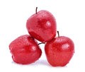 Apple fruit red water drops on white background Stock Images