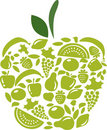 Apple with fruits and vegetables pattern on white Stock Image