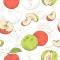 Apple graphic red green color seamless pattern sketch illustration Royalty Free Stock Photo