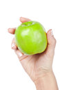 Apple in hand green closeup Stock Photography
