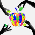 Apple in hands a puzzle Royalty Free Stock Photo