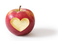 Apple with heart shape isolated on white background Royalty Free Stock Photography