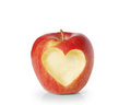 Apple with heart shape isolated on white background Royalty Free Stock Image