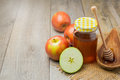 Apple And Honey Jar On Wooden ...