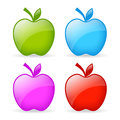 Apple icon icons set isolated on white Royalty Free Stock Photo