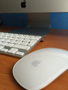 Apple imac mouse madrid spain feb computer with wireless keyboard and macintosh computers are really popular Stock Images
