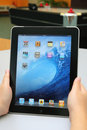 Apple iPad on hand Royalty Free Stock Photo