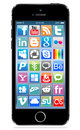 Apple iphone s black with social icon on screen eps Stock Photography