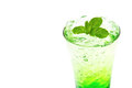 Apple italian Soda with mint leaf Royalty Free Stock Images