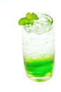 Apple italian Soda with mint leaf Royalty Free Stock Photography