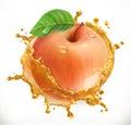 Apple juice. Fresh fruit, vector icon
