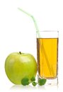 Apple juice fresh in the glass isolated on a white background close up Stock Images