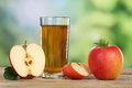 Apple juice and red apples in summer Royalty Free Stock Photo