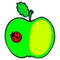 Apple and ladybird hand drawn illustration in ukrainian folk style Stock Photo