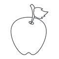 Apple leave fruit outline