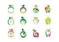 apple, logo, fresh, fruit, fruits, nutrition, health nature set icon symbol vector design Royalty Free Stock Photo