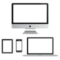 Apple mac ipad iphone on white background Stock Images