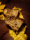 Apple maple cake two slices of an placed on some yellow leaves on a brown texturized piece of cloth vertical crop Stock Image