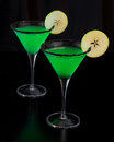 Apple Martinis Rimmed with Black Sugar Royalty Free Stock Photo