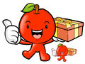 Apple mascot the left hand is holding a big box fruit character design series Royalty Free Stock Photos