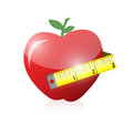 Apple and measure tape illustration design over white Royalty Free Stock Photo